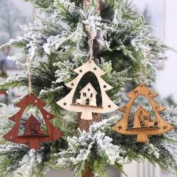 DIY木質造型鏤空聖誕樹吊飾 創意聖誕樹造型吊飾 聖誕派對必備裝飾