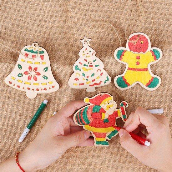 木質DIY聖誕著色板吊飾 創意聖誕節吊飾塗鴉 彩色聖誕節裝飾 2入裝
