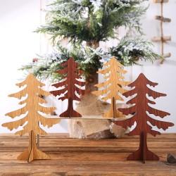 DIY木質聖誕樹桌面裝飾 創意大號小號聖誕樹 十字底木質聖誕樹
