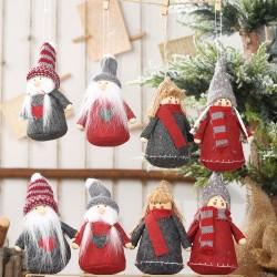 聖誕老人小孩布娃娃 聖誕樹裝飾玩偶 創意人偶吊飾 布偶 1對裝