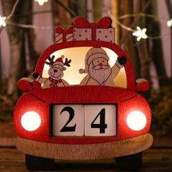 聖誕木質汽車日曆 聖誕節必備裝飾用品 創意木質裝飾日曆