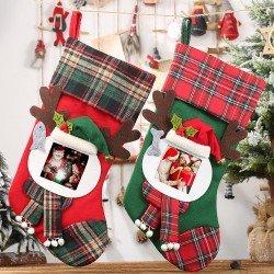 透明相框格子聖誕襪 聖誕節裝飾必備聖誕襪 糖果袋 禮物袋