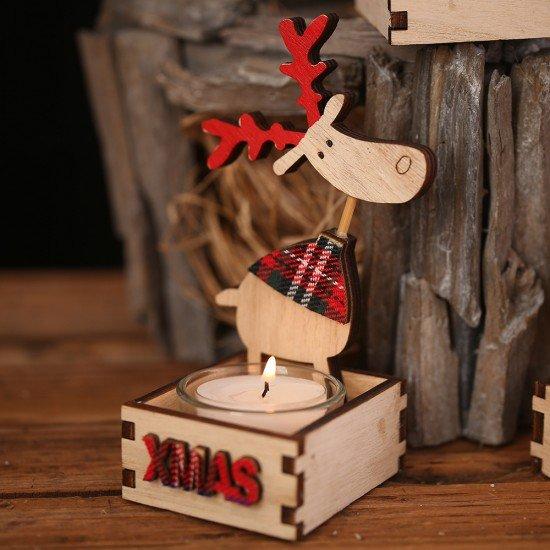 聖誕木質蠟燭台 聖誕布置必備裝飾 創意麋鹿聖誕樹蠟燭台
