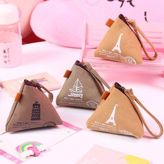 復古粽子造型零錢包 創意帆布零錢收納包 創意造型零錢包