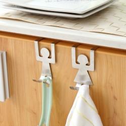 人物造型門後掛勾 抹布包包收納架 創意造型櫥櫃掛鈎 置物架 掛架 門後鉤 1對裝
