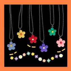 小花朵造型項鍊 可愛花朵鎖骨項鍊 糖果色小花項鍊