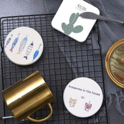 矽藻土超吸水防滑杯墊 浴室必備 印刷杯墊 洗漱用品防滑墊