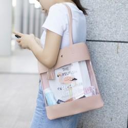 旅行紅鶴透明單肩包 小清新購物手提袋 創意皮革購物袋 提袋