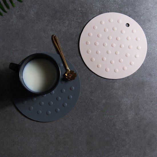 圓形矽膠隔熱墊 簡約加厚防燙鍋墊 防滑餐桌耐熱墊 杯墊