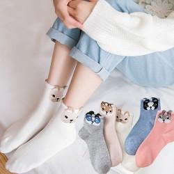 可愛小狗頭造型中筒襪 動物立體耳朵襪子 創意可愛造型棉襪