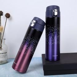 簡約星空彈跳杯蓋保溫杯 500ML創意漸層色304不鏽鋼保溫杯 環保保溫杯
