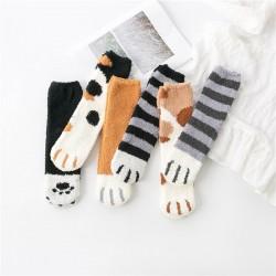 珊瑚絨貓爪中筒襪 可愛保暖冬季襪子 貓奴必備加厚中筒襪