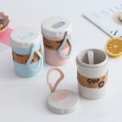 環保雙層隨手杯 簡約小麥湯杯 創意早餐防燙塑膠隨手杯 密封湯碗