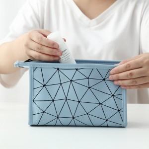 PU菱形格化妝包 防水化妝品收納包 旅行必備洗漱用品收納包