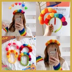 百搭彩色毛球髮箍 可愛造型洗臉束髮帶 毛毛球造型髮箍 髮圈