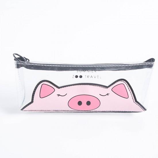 動物園透明筆袋 可愛動物圖案文具袋 小清新文具收納袋