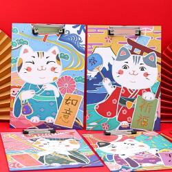 中國風A4板夾 創意招財貓檔案夾 辦公學生文具夾 A4文件夾