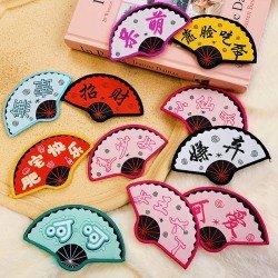 中國扇文字瀏海貼 創意扇子造型魔術貼 創意造型髮貼
