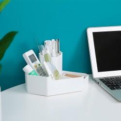 角落收納筆筒 創意轉角置物收納盒 文具雜物整理盒 桌面收納必備好物