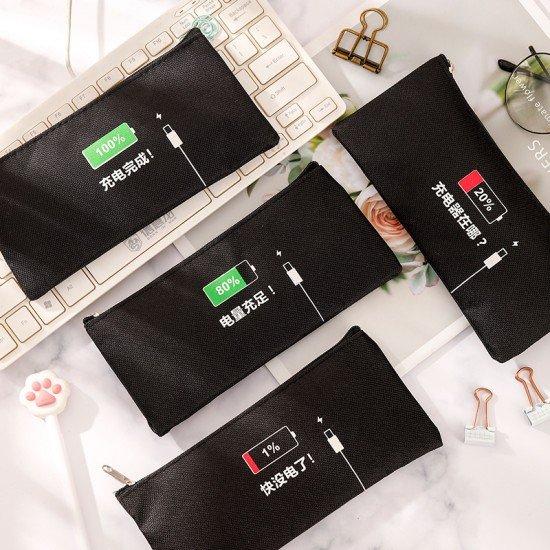 充電量造型筆袋 創意文具收納袋 帆布學生鉛筆盒 創意筆袋