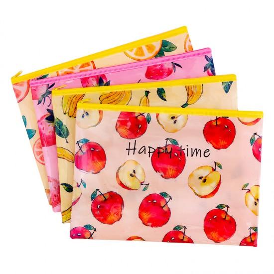 小清新水果網格拉鏈袋 創意印花水果文件袋 多尺寸水果文件袋 辦公必備