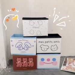 可愛折疊收納盒 簡約桌面雲朵笑臉小熊置物盒 創意多功能收納盒