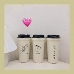 可愛圖案隨手杯 創意手繪小熊咖啡杯 簡約隨身飲料杯