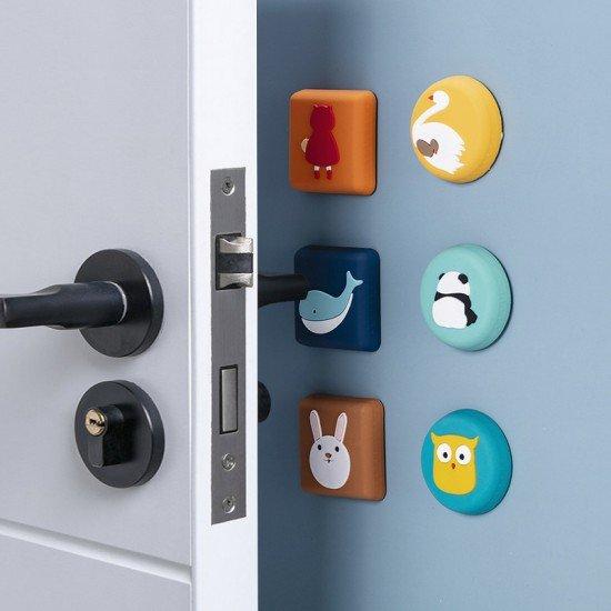 可愛圖案矽膠防撞墊 創意造型門後櫥櫃防撞墊 加厚門把防護墊
