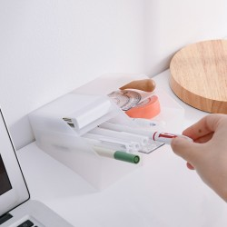 桌面多功能筆筒 創意斜插式設計收納筒 簡約磨砂化妝品收納盒