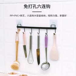 不鏽鋼6連掛勾 PVC黏貼掛勾 簡約風廚房浴室掛鈎 多功能門後掛鉤