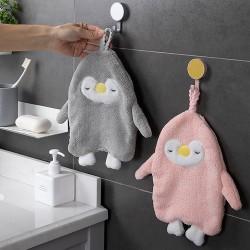 可愛企鵝造型擦手巾 珊瑚絨造型擦手巾 居家必備超吸水小毛巾