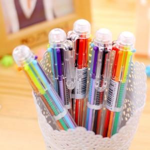 6色按壓圓珠筆 創意多色透明原子筆 簡約多色隨身原子筆