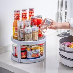 可旋轉調味瓶收納架 創意旋轉雙層置物架 廚房必備調味罐收納架