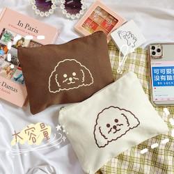 帆布小狗拉鍊收納包 可愛印花手拿包 創意化妝品收納包