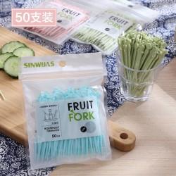 創意造型水果叉 50支裝塑膠水果叉 塑膠牙籤 居家必備水果叉