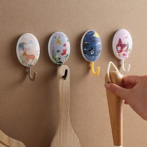田園風時尚掛勾 中國風水墨塑膠掛鈎 創意塑膠黏貼掛勾 4個裝