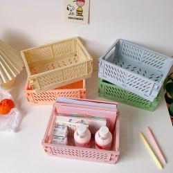 桌面摺疊置物籃 可折疊塑膠桌面收納籃 創意文具保養品收納籃