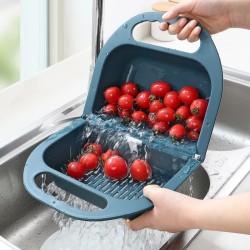 二合一折疊瀝水籃 創意塑膠蔬果洗菜籃 居家必備水果籃 兩用摺疊籃