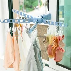 多孔窗戶曬衣架 多功能20孔門窗折疊衣架 室內多孔衣物晾曬架
