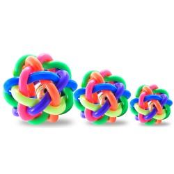寵物七彩鈴鐺球 創意造型彩虹編織球玩具 七彩造型球橡膠玩具