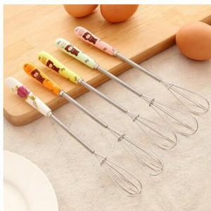 可愛小熊打蛋器 時尚陶瓷柄打蛋器 創意烘焙攪拌棒 印花圖案攪拌器