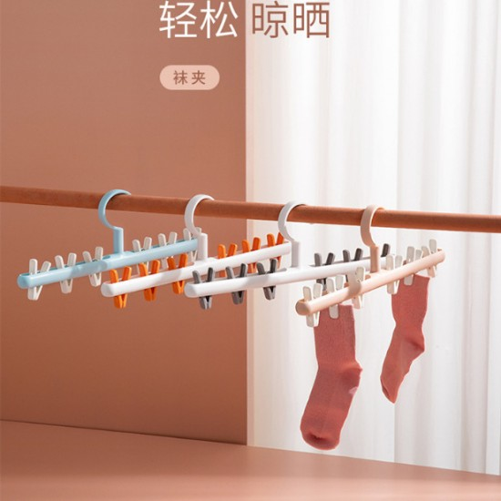 創意防風衣架夾 簡約6夾防風塑膠衣架 360度旋轉曬襪架 衣夾