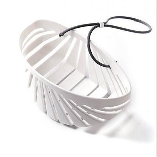 多功能水槽瀝水架 貝殼造型掛繩鏤空瀝水籃 多功能海棉置物架 收納籃