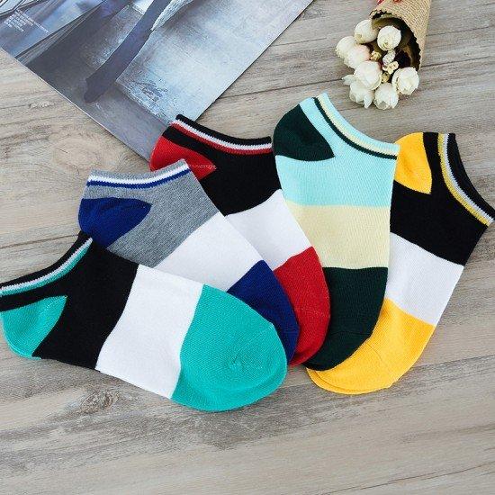 多色拼接船襪 春夏季必備船型襪 創意多色拼接襪子 時尚運動短襪