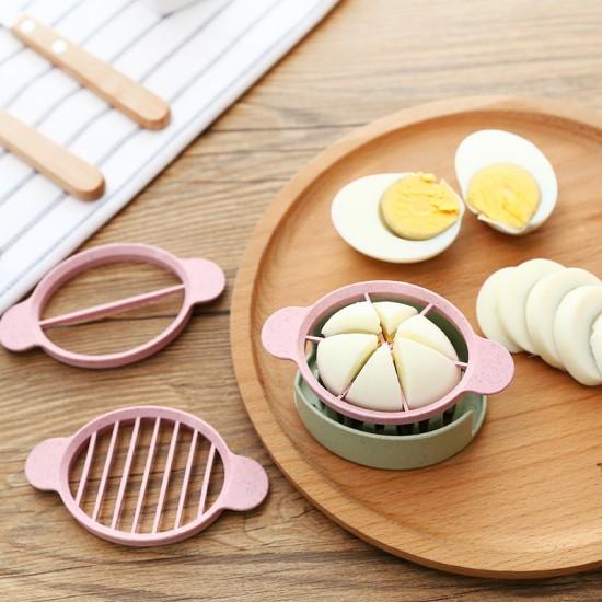 小麥三合一切蛋器 多功能花式雞蛋分割器 創意小麥秸稈切蛋器