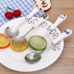 不鏽鋼長柄湯匙 陶瓷手柄可愛圖案湯匙 可愛動物不鏽鋼餐具 小湯匙