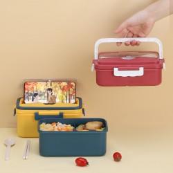 簡約分隔便當盒 手提野餐必備便當盒 多功能分隔附餐具密封飯盒