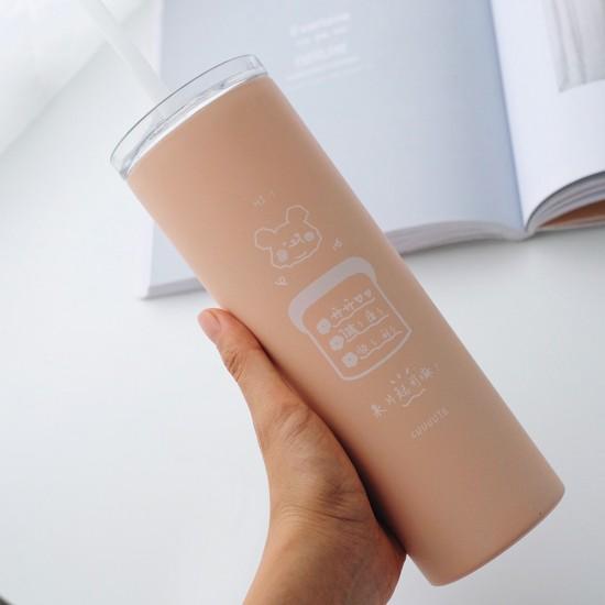 可愛風吸管保溫杯 304不鏽鋼咖啡杯 簡約風保溫杯 居家辦公必備吸管杯