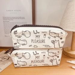可愛貓咪帆布筆袋 簡約學生文具袋 小清新文具收納袋 學生鉛筆盒