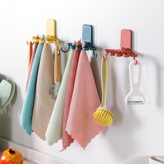 花形壁掛式抹布架 廚房必備整理掛勾 抹布毛巾收納架 多用途節省空間